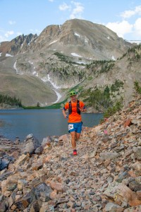 Gabe Joyes at Lake Agnes - 2016 Never Summer 100K