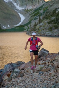 Cindy Stonesmith at Lake Agnes - 2016 Never Summer 100K